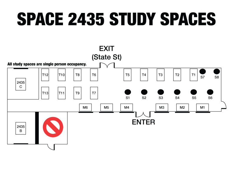 Space 2435 Study Spaces Reservation Layout
