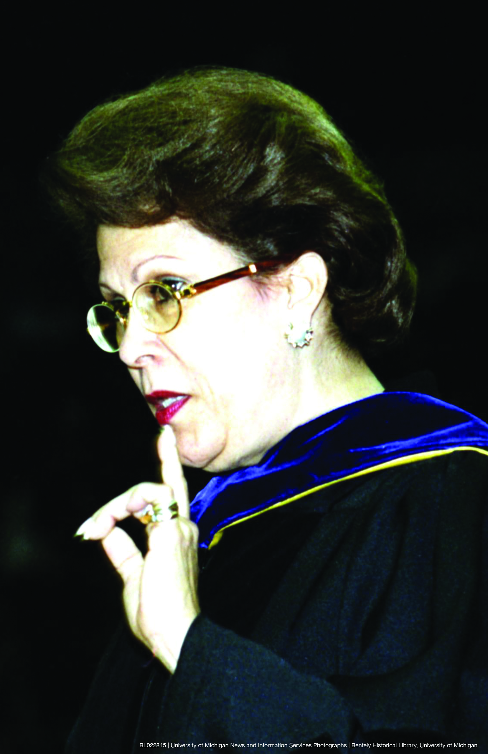 Photo of Dr. Antonia Novello giving a commencement speech